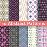 Abstract patterns. Set of vector seamless. 10 Abstract patterns (tiling). Set of vector seamless spring backgrounds. White, black, green, pink and blue colors Stock Photo