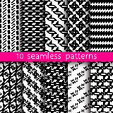 10 abstract patterns for universal background. Endless texture can be used for wallpaper, pattern fill, web page background. Vector illustration for web design Stock Images
