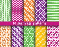 10 abstract patterns for universal background. Endless texture can be used for wallpaper, pattern fill, web page background. Vector illustration for web design Royalty Free Stock Image