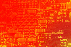 Abstract pcb red colors background. Abstract electrical circuits concept in red colors Royalty Free Stock Photography