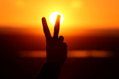 Abstract peace symbol silhouette Stock Images