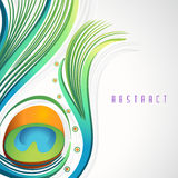 Abstract peacock feather background. Colorful creative glossy peacock feather on abstract background Royalty Free Stock Photos
