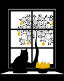 Abstract pear tree outside window Royalty Free Stock Photo