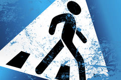 Abstract pedestrian sign. With a stepping down pedestrian Stock Image