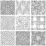 Abstract pen sketch seamless pattern set Royalty Free Stock Photo