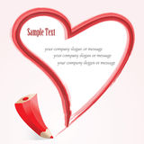 Abstract pencil heart. Card whit whit space for text Stock Images