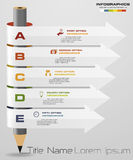 Abstract pencil Infographics with 5 step option. Vector illustration. Can be used for workflow layout, diagram, number options, step up options royalty free illustration