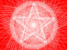 Abstract pentagram background. White lines depicting pentagram on red background Royalty Free Stock Photography