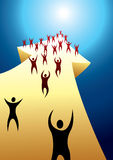 Abstract people on arrow. Abstract people with raised arms on a yellow, 3D arrow Royalty Free Stock Image