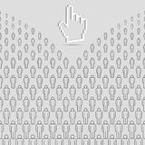 Abstract People Background and 3D Hand Cursor. Grey Vector People Crowd Made of Simple Line Icons. Abstract People Background and 3D Hand Cursor. Groupe of royalty free illustration