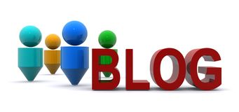 Abstract people blog. 3-D abstract people figures near the word blog in red letters Royalty Free Stock Photography