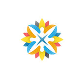 Abstract people, happy, flower logo vector vector illustration