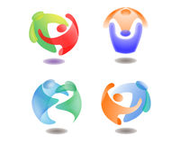 Abstract People Hug Illustration. Vector Illustration of Colorful Abstract People Hugging in Sphere for Logo Icon Graphics Stock Images