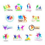 Abstract people icon vector person sign on logo of teamwork in business company or fitness logotype with sportsman. Winner and silhouette of lovely family Stock Photos