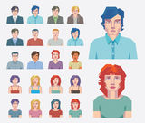 Abstract people icons. Set of vector Abstract face portraits of men and women royalty free illustration