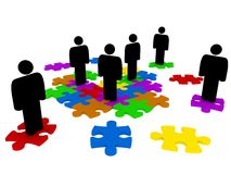Abstract people on jigsaw pieces Royalty Free Stock Photos