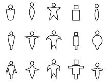 Abstract people linear icons. Isolated abstract people linear icons from white background Royalty Free Stock Photography