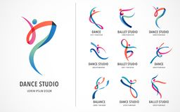 Abstract people logo design. Gym, fitness, running trainer vector colorful logo. Active Fitness, sport, dance web icon. Abstract people logo design set. Gym royalty free illustration