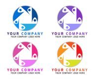 Abstract people logo set for business company. Technology, Social Media Logotype idea. People connect, Circle, team work logo. On white background in ai10 stock illustration