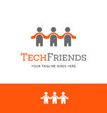 Abstract people logo with three figures. Holding hands. Vector Icon Royalty Free Stock Photo