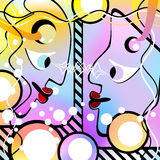 Abstract people look at each other. Motley Version Royalty Free Stock Photography