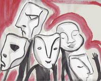 Abstract people with masks Royalty Free Stock Images