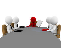 Abstract people in meeting. Abstract 3D business people sitting in a meeting around a table Royalty Free Stock Photo