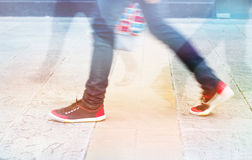 Abstract people street walk in the city, pastel and blur concept Stock Photo