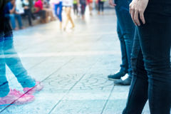 Abstract people street walk in the city, pastel and blur concept Royalty Free Stock Photo