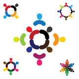 Abstract people vector logo design collection set. This also represents unity,  teamwork, diversity, fun and play, signs and symbols Stock Images
