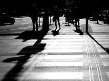 Abstract people walking in the city. Abstract black and white color photo of people walking Royalty Free Stock Images