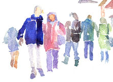 Abstract people walking in street Stock Images