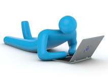 Abstract person working with laptop Royalty Free Stock Photos