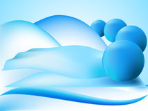 Abstract perspective balls with wave and figure Royalty Free Stock Photo