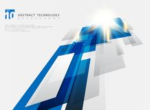 Abstract perspective technology geometric blue color shiny motion background and lines texture with lighting burst effect. You can. Use for brochure, print, ad royalty free illustration
