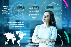 Safe world and environment concept. Abstract perspective of thougthful european woman looking at futuristic screen with environmental facts. Safe world and Royalty Free Stock Image