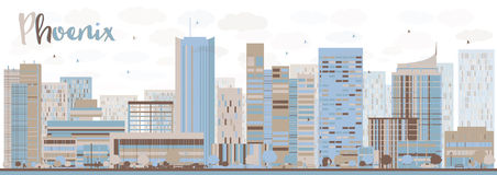 Abstract Phoenix Skyline with Color Buildings Stock Photo