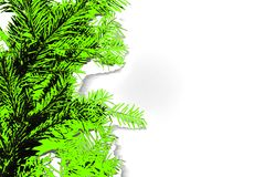 Abstract photo of coniferous branches in UFO green color royalty free illustration