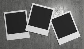 Abstract photo Frames On Concrete Wall. 3D Rendering Of Abstract photo Frames On Concrete Wall royalty free illustration