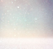 Abstract photo of light burst and glitter bokeh lights. image is blurred and filtered Royalty Free Stock Images
