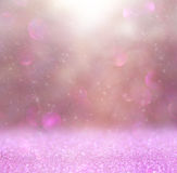 Abstract photo of light burst among trees and glitter bokeh lights. image is blurred and filtered Royalty Free Stock Image