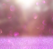 Abstract photo of light burst among trees and glitter bokeh lights. image is blurred and filtered. Royalty Free Stock Photos