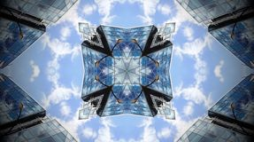 Abstract photo mandala of clouds and reflections. Stock Photo