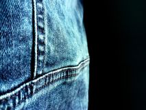 New blue denim jacket close-up stock image