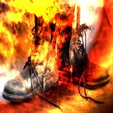 Unlaced black military army boots on fire. Intense abstract background with fire like color splash. stock illustration