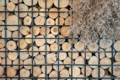 Abstract photo of a pile of natural wooden logs background in black metal frame for interior design. Decoration royalty free stock images