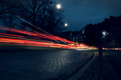 Abstract photo shows city traffic. At night royalty free stock images