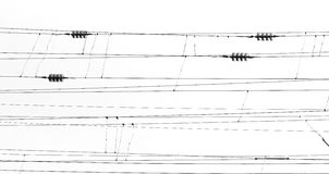 Abstract photo of train wires in black and white photo Royalty Free Stock Photos