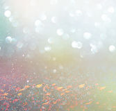 Abstract photo of wild flower field and bright bokeh lights. cross proccess effect.  Stock Photography