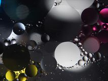 Abstract photography drops of oil on the water. Fantastic shapes of colored circles on a colorful background. Wallpaper Royalty Free Stock Image